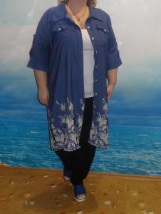 Рубашка-платье, джинс синий